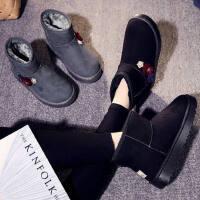 时尚火柴钻面短筒百搭短靴雪地靴女加绒靴子厚底棉鞋女