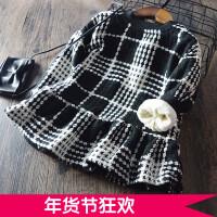 韩版童装女童加绒加厚连衣裙 儿童宝宝格子公主裙衫 2017冬装新款