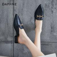 达芙妮包头半拖鞋女2021夏季新款懒人鞋时尚外穿拖鞋女网红凉拖
