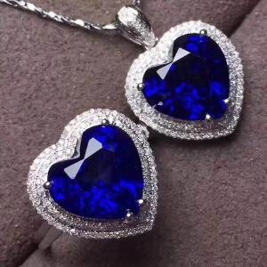 大主石蓝宝石套装皇家蓝高净度