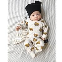 婴儿连体衣服春装0岁3月宝宝内衣睡衣新生儿外出服新年