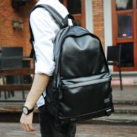 韩版潮双肩包男包 背包休闲PU皮包初高中学生书包 电脑包 旅行包