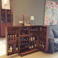 餐边柜客厅储物柜实木柜子多功能厨房橱柜水曲柳储藏柜复古洋酒柜 双门