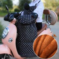 电动电瓶摩托车挡风被冬季加大加绒加厚分体保暖防风挡腿罩pu皮革新品 加绒款 黑色挡风被+把套