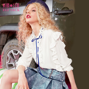 妖精的口袋面若桃花春秋装新款宽松木耳边蝴蝶结白衬衫女