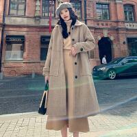 毛衣大衣 女士翻领格子单排扣加厚毛呢大衣2020冬季新款韩版时尚女式洋气双面呢子赫本风过膝外套女装上衣