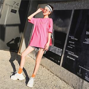 七格格 粉色t恤女短袖2018新款显瘦潮韩范时尚ulzzang字母刺绣中长款上衣