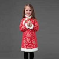 2018秋冬新款女童旗袍裙儿童长袖红色夹棉唐装*宝宝民族服装