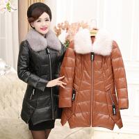 新款中老年女装厚PU皮衣40-50岁中长款妈妈冬装棉衣外套