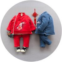 宝宝唐装棉衣1-2-3周岁儿童汉服小孩喜庆新年装 男童冬装套装加厚