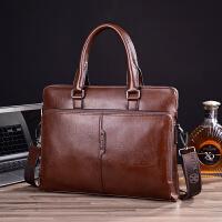 男士手提包横款牛皮公文包商务单肩包斜挎包韩版男士包包