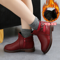 乌龟先森 儿童靴子 女童单色侧拉链中筒马丁靴冬季新款韩版儿童时尚休闲舒适百搭鞋子