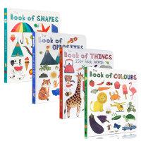 Book of 系列4本套装Book of Colours 颜色书 Opposites 反义词 Shapes 图形书 Things: 250+ First Words 儿童启蒙认知英文原版图画纸板书