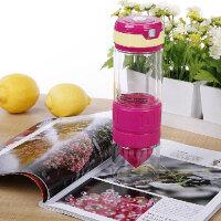 红兔子 柠檬杯 双层钢化玻璃第二代手动榨汁运动便携式喝水 玫红色 D1201