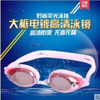 新品平光带度数专业游泳眼镜套装女高清防雾防水电镀游泳镜男