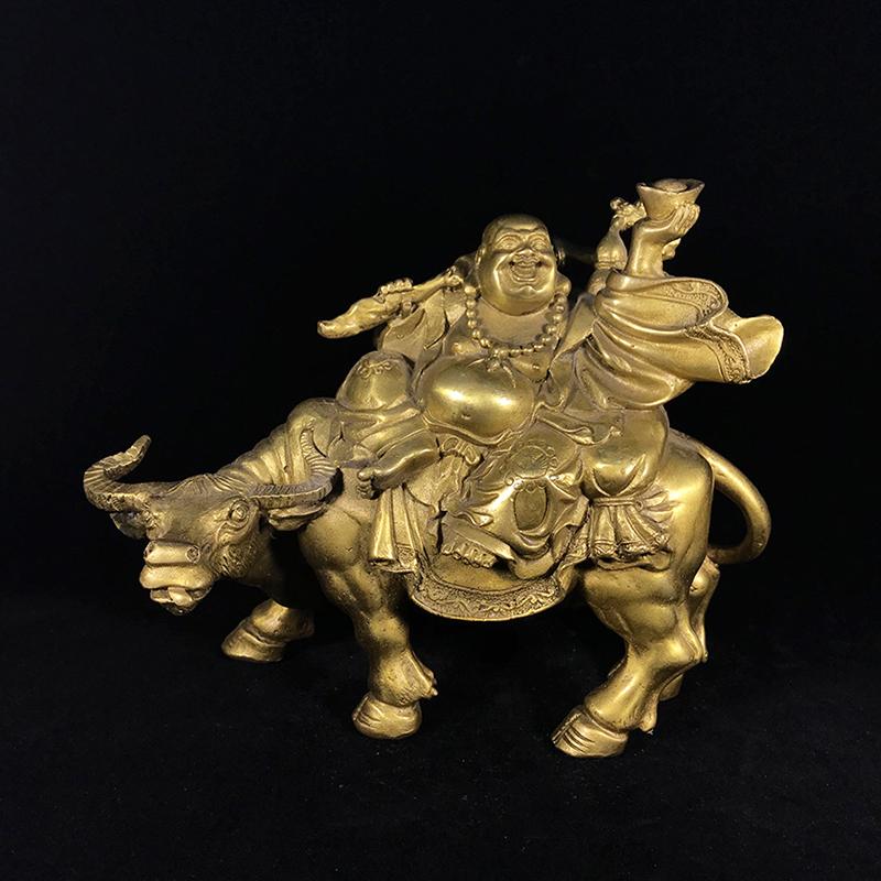 弥勒佛骑牛铜摆件