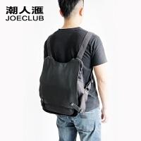 韩版女包单肩背包 双肩包女士三用帆布旅行包 日系风书包休闲包包 黑灰色(现货)