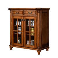 美式全实木餐边柜现代简约整装储物柜多功能家用碗碟柜厨房餐具柜 餐边柜 双门