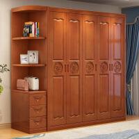 实木衣柜三门四门简约现代卧室家具经济型家用组装转角中式大衣橱
