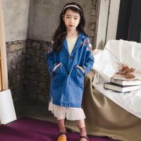 童装2017秋冬季新款女童牛仔外套中长款韩版中大童刺绣风衣亲子装