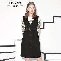 【8.9上新】ihappy/海贝V领无袖连衣裙