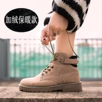 学生韩版百搭女鞋冬靴子短靴chic加绒马丁靴女英伦风