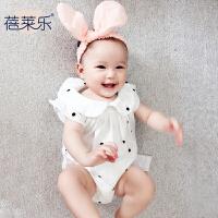 婴儿连体衣服宝宝新生儿季0岁8个月新款爬服哈衣新年