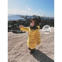 2017冬季装新款女宝宝纯色上衣小女孩保暖长款羽绒服儿童连帽外套