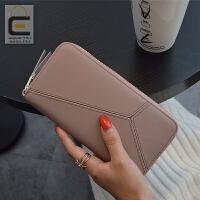 2018新款韩版女士钱包女长款真皮拉链皮夹大容量手拿包牛皮钱夹潮 粉红色 偏紫粉