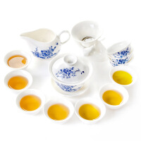 简约式青花瓷茶具整套功夫陶瓷茶具便携旅行手绘茶具t7y