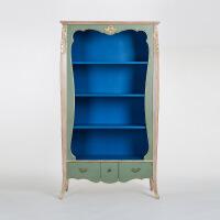 奇居良品 法式新古典进口白榉木家具 蓝灰色雕花书柜书架