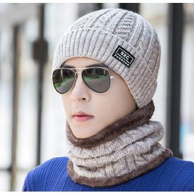 韩版防风护耳毛线帽男士帽子 户外保暖加绒加厚套头帽 新款针织帽青年帽子 品质保证 售后无忧