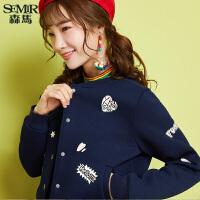 森马短款外套女秋装新款韩版立领夹克棒球服学生印花上衣