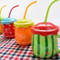 创意潮流杯子陶瓷简约个性马克杯带盖勺水杯家用大肚儿童牛奶杯