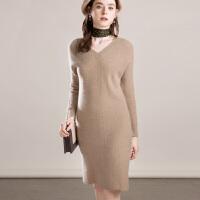 山羊绒衫女中长款v领毛衣裙韩版修身打底保暖长袖针织连衣裙