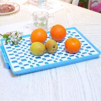家英 欧式双层餐具滤水架 水果托盘--蓝色