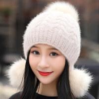 户外防风保暖潮帽子女 时尚护耳纯色帽子甜美可爱毛球帽子 韩版百搭针织毛线帽
