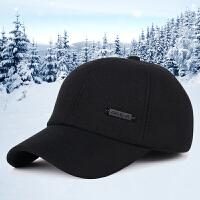 中老年人帽子男士冬季护耳帽老头帽冬天棒球帽毛呢加厚保暖老人帽