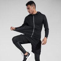 健身服套装男运动紧身衣健身房训练服速干衣夜跑 跑步五件套