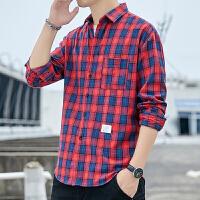 韩版格子衬衫男长袖宽松青少年学生衬衣寸衫潮