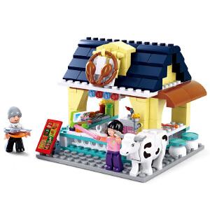 【当当自营】小鲁班新粉色梦想女孩海豚湾系列儿童益智拼装积木玩具 BBQ餐吧M38-B0605