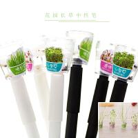 日韩可爱文具 创意小清新花园长草系列种子发芽黑色0.5mm中性水笔 颜色*