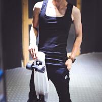 夏季薄款男士无袖打底T恤棉韩版工字背心坎肩修身潮男平领��