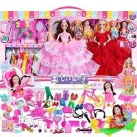 芭比娃娃套装女孩公主大礼盒洋娃娃婚纱衣服别墅城堡儿童玩具 眨眼+音乐+灯光12关节