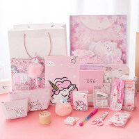 梦幻独角兽圣诞大礼包 少女心文具套装紫粉色礼盒 学生*奖品礼物开学
