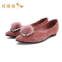 红蜻蜓新款尖头粗跟中跟浅口平底水钻复古磨砂商务女鞋