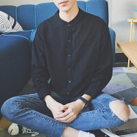 新款文艺男士衬衣秋季2018修身韩版潮流帅气长袖衬衫休闲寸衫衣服