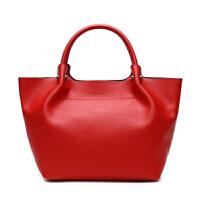 女包大包单肩斜跨手提包包牛皮女士饺子包欧美时尚饺子大包 红色