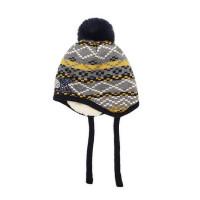 户外运动加绒毛线帽幼儿球球套头帽护耳防风男女童针织帽加厚