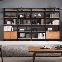 实木书架置物架格架创意落地书柜北欧简易卧室铁艺复古展示柜